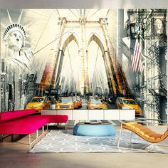 """Large, durable, water- and scratch-resistant XXL fleece wall mural """"Urban living"""". Wall mural """"Urban living"""" in large format with inspiring design is a sensational decoration for any room. 3d Wallpaper Mural, Photo Wallpaper, Brooklyn Bridge, Dark Jungle, Background 3d, Buy Wallpaper Online, Banksy Graffiti, New York, Decoration Design"""