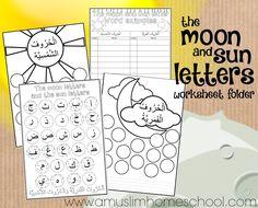 a muslim homeschool: Printable Moon and Sun letter worksheet folder for kids!