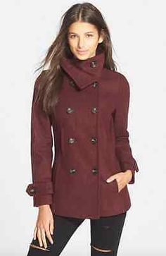THREAD AND SUPPLY NORDSTROM WOOL LINED PEA COAT DOUBLE BREASTED BURGUNDY SZ M in Clothing, Shoes & Accessories, Women's Clothing, Coats & Jackets | eBay