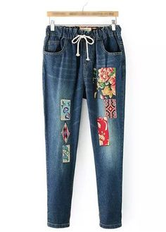 Patchwork Design Mid Waist Denim Pants on sale only US$29.28 now, buy cheap Patchwork Design Mid Waist Denim Pants at modlily.com