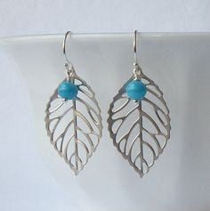 Turquoise Silver Leaf Dangle Earrings Eco by PeriniDesigns on Etsy