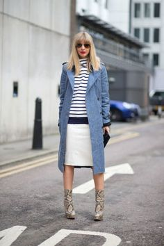 Kerry Pieri in DROME skirt. See the best street style looks at London Fashion Week right here: