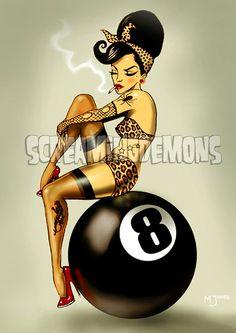 Eightball Rockabilly  Pinup Art Print by Marus Jones