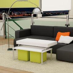 fresca y exclusiva mesa baja con tablero elevable y puffs Mesas bajas de salon, Muebles de Interior, Muebles para el salon mia home