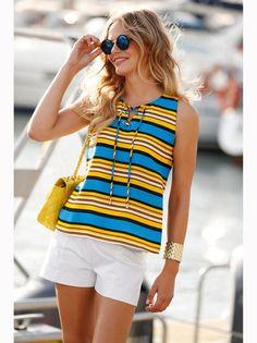Blusa mujer sin mangas rayas náuticas multicolores