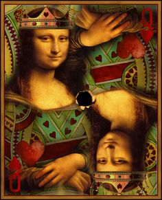 Mona Lisa as Queen of Hearts La Madone, Mona Lisa Parody, Mona Lisa Smile, Italian Artist, Cultura Pop, Queen Of Hearts, Oeuvre D'art, Beautiful Dolls, Caricature
