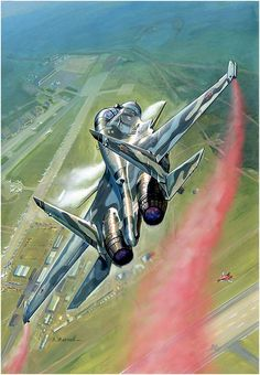by Andrey Zhirnov Airplane Fighter, Airplane Art, Fighter Aircraft, Air Fighter, Fighter Jets, Avion Jet, Russian Military Aircraft, Military Drawings, Aircraft Painting