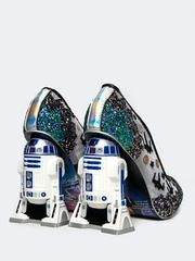 - These Star Wars pumps by Irregular Choice are fresh off the runway! Get these limited edition heels before they sell out. - R2D2 pumps are made from a silver, mesh upper with a glittery landscape an