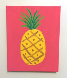 """Lilly Pulitzer Inspired Pineapple Painting by goldenarrowdesign, 8"""" x 10"""" stretched canvas with acrylic paint."""