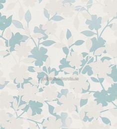 Papel Pintado contorno flores y hojas turquesa - 451023