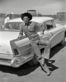 "1958. ""Photos show life in Texas. Coverage is broad. Among the many subjects covered are ranching, rodeos, the Texas State Fair."" Somewhere in there was this buckaroo and his Buick. From photos by Earl Theisen for the Look magazine assignment ""Revolution in Texas: Change on the Range."""
