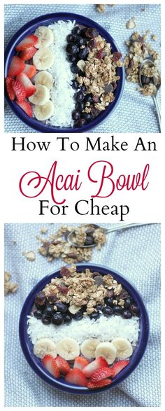 Bowl How to make a classic acai bowl plus some fun topping ideas!How to make a classic acai bowl plus some fun topping ideas! Acai Recipes, Smoothie Recipes, Cooking Recipes, Budget Cooking, Budget Recipes, Budget Dinners, Cheap Recipes, Easy Dinners, Pitaya