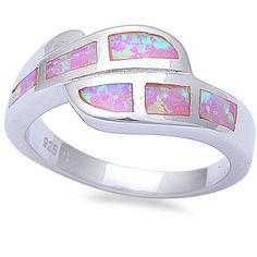 Trendy Bypass Design Lab Created Australian Pink Opal Ring Solid 925 Sterling Silver Simple Plain Trendy Ring Fashion Gift