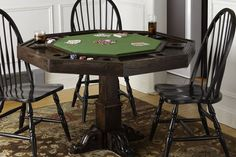 Removing a sturdy wooden cover reveals a legitimate poker table, complete with poker-chip holders! Finish the project in a weekend's time, after you check out our How to Build a Poker Table tutorial. Poker Table Diy, Custom Poker Tables, Diy Table, Woodworking Plans, Woodworking Projects, Build A Table, Table Games, Table Plans, My New Room