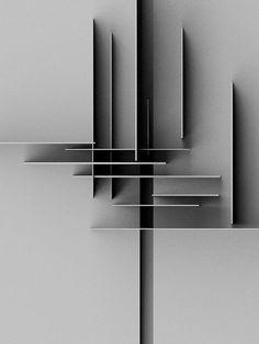Door  rechte lijnen en schaduw wordt er een mooie compositie afgebeeld.