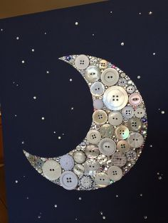 Moon Wall Art Crescent Moon Decoration Kirk's Folly Button Art Crescent Moon and Stars I love you to the moon and back to infinity beyond Eid Crafts, Ramadan Crafts, Ramadan Decorations, Button Decorations, Button Canvas, Button Art, Button Crafts, Fest Des Fastenbrechens, Decoraciones Ramadan