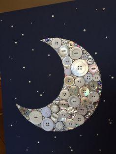 Botón de arte Luna | Botón lona vivero Decor  Si usted está satisfecho con las fotos de mi trabajo, no vas a creer cuando vea la pieza brillo,