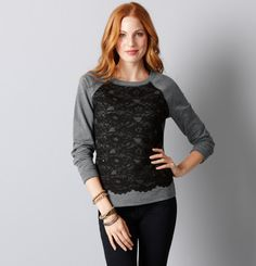 From Ann Taylor.  $59.50.  Refashion idea: add (stretch) lace to baseball-style tee.