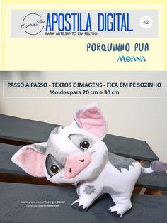 Porquinho Pua em Feltro, inspirado no Filme Moana