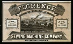 Florence Sewing Machine Co. Oil Stove, Deco, Florence, Couture, Sewing, Cards, Poster, Vintage, Dressmaking