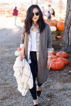 fall outfit, fall layers, casual outfit, comfy outfit, street style - grey long cardigan, grey plaid shirt, white t-shirt, dark denim solid skinny jeans, burgundy loafers, black clubmaster sunglasses, nude shoulder bag, white plaid scarf