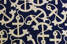 Close Up | Navy Anchor Print | Anchor Width: 6cm Navy Anchor, Anchor Print, Fabrics, Kids Rugs, Gallery, Summer, Prints, Cotton, House