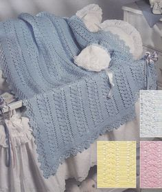 Lace Baby Afghan Crochet Pattern, Baby Blue Lace