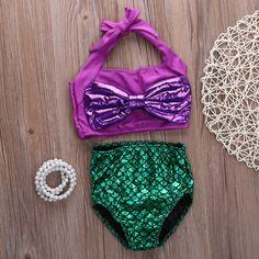 Niños niñas trajes de baño de dos piezas traje de baño del niño con el Arco sirena colas para niños bikini set baby girls trajes de baño custome