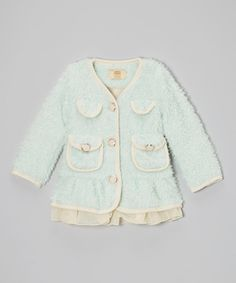 Take a look at this Mia Belle Baby Baby Blue Tulle Trim Furry Jacket - Toddler & Girls on zulily today!
