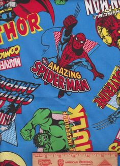 FQ Fabric Fat Quarter Super Hero Marvel Comic Spiderman Captain America HULK