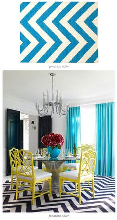 Dining room #yellow painted cane chairs #yellow & turquoise colour way #zigzag carpet - love it
