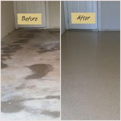 Before and after garage floor using Quickcrete garage floor epoxy kit. Well worth it! : Before and after garage floor using Quickcrete garage floor epoxy kit. Well worth it! Garage Shed, Garage House, Diy Garage, Garage Workshop, Garage Doors, Garage Workbench, Dream Garage, Garage Epoxy, Small Garage