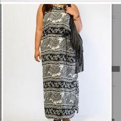 Plus size paisley high slit maxi dress Brand new with tags Dresses Maxi