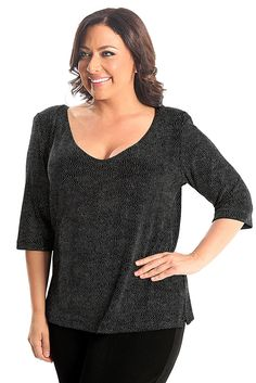 Vikki Vi Classic Northern Lights Deep Scoop Neck Top A great plus size piece for your holiday party.