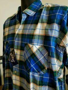 NWT NOVA SCOTIA TARTAN BY BONDA SHIRT L BLUE PLAID FLANNEL VINTAGE CANADA #DressTartanNovaScotiabyBonda #ButtonFront