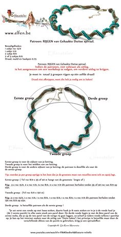 Best Seed Bead Jewelry 2017 Elfenatelier Dutch spiral pic and video Seed Bead Tutorials Beaded Necklace, Beaded Bracelets, Necklaces, Bead Sewing, Necklace Tutorial, Bead Crochet, Spiral Crochet, Crochet Rope, Beaded Jewelry Patterns