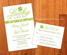 Green Shamrock Lucky in Love Wedding Invitations – Designed By Brenda