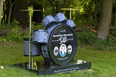 Amazing modern drumset monument headstone for a drummer or musician.