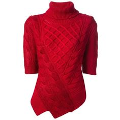 CARVEN Cable Knit Sweater (845 BRL) ❤ liked on Polyvore featuring tops, sweaters, shirts, red, short sleeve cable knit sweater, cable knit sweater, shirt sweater, merino wool shirt and red short sleeve shirt