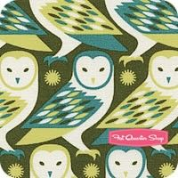 Pillow.      Birch Farm Sage Barn Owl Yardage <br/>SKU