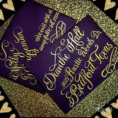 Platinum Flourish Calligraphy script in metallic gold ink with extra flourishes off the letters, bottom and around the zip code Yes, you can customize any of our fonts with different /unique layouts too #calligraphy #platinum #flourishing #gold #goldink  #weddinginspiration #weddingideas #weddingtrends #weddinginvitation #getcreative #nationwidecalligrapher #calligraphybyjennifer
