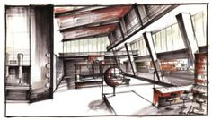 "One of the drawings for Ken Adams' sets for ""Dr. No."""