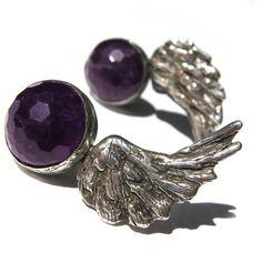 Toosis Amethyst Angel Wings Earrings (1,775 MXN) ❤ liked on Polyvore featuring jewelry, earrings, boucles d'oreilles, amethyst earrings, angel wing jewelry, handcrafted earrings, amethyst jewelry and handcrafted jewelry