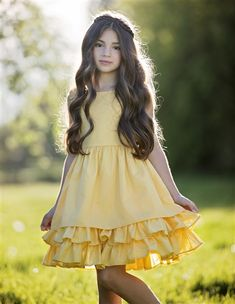 """""""Easter dress for girls from My Little Jules"""" Persnickety Clothing - Daffodils & Dandelions Adeline Dress in Yellow Little Girl Fashion, Kids Fashion, Womens Fashion, Little Girl Dresses, Flower Girl Dresses, Vintage Girls Dresses, Girls Clothing Brands, Girl Clothing, Designer Clothing"""