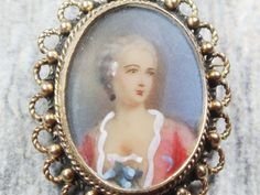 Vintage Portrait Pin Handpainted Gold Pin 14k by BelmarJewelers