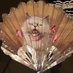 Fan painted by Adolphe Thomasse, ca. Antique Fans, Old Fan, Cat Lady, Lion Sculpture, Miniatures, Museum, Victorian, Statue, Fine Art