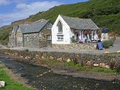 Boscastle in North Cornwall - this is the youth hostel and the Harbour Light tea shop, rebuilt since the 2004 flood