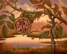 Vladimir Kush walnut of eden painting is shipped worldwide,including stretched canvas and framed art.This Vladimir Kush walnut of eden painting is available at custom size. Vladimir Kush, Fantasy Kunst, Fantasy Art, Art Visionnaire, Surrealism Painting, Adam And Eve, Salvador Dali, Visionary Art, Beautiful Drawings
