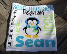 Personalized Penguin Baby Blanket - Boy Penguin Receiving Blanket - Custom Name Baby Blanket - Newborn Swaddling Blanket - Baby Photo Prop Soft Baby Blankets, Receiving Blankets, Swaddle Blanket, Penguin Baby, Baby Penguins, Personalized Baby Blankets, Knot Headband, Baby Names