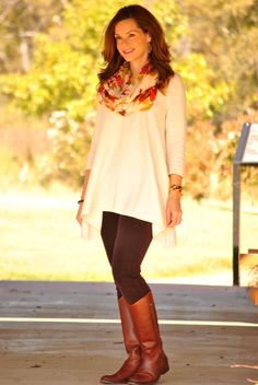 love the tunic/leggings/boots with scarf combo